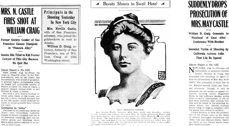 mary scott castle, mrs neville castle, american actress, august 1909, new york city, manhattan, waldorf astoria hotel, william craig, shooting
