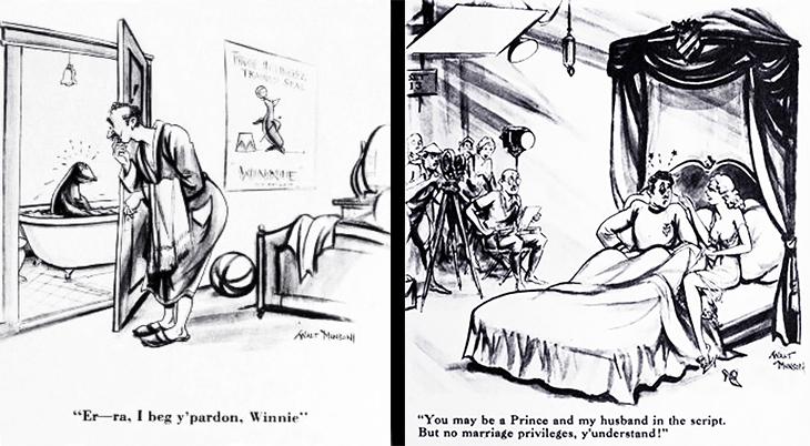 walt munson, american, cartoonist, artist, illustrator, comic strips, cartoons, funny, baloonacy, hollywood humor, movie industry, jokes, 1933, i beg y'pardon winnie, no marriage privileges, seal, bathtub, bed, actors, filming,