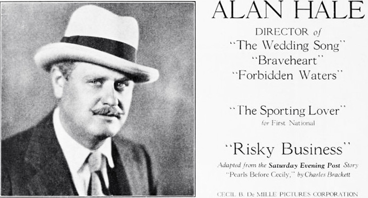 alan hale senior, famous, fathers, celebrity, dads, family, hollywood, fathers day, director, silent movies, 1920s films, braveheart, the wedding song, forbidden waters, risky business, the sporting lover, american actor, movie star,