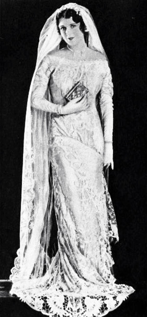 june collyer, 1930, wedding dress, bridal fashion, american actress, movie star, 1920s, silent movies, east side west side, hangmans house, red wine, the love doctor, illusion, 1930s movies, the three sisters, sweet kitty bellairs