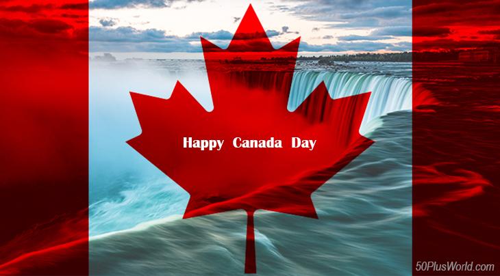 canada day, dominion day, canadian, flag, provinces, nature, scenery, central canada, ontario, niagara falls, horseshoe falls,