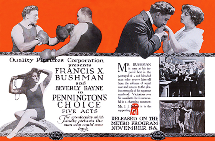 francis x bushman, beverly bayne, 1915, american actors, actress, movie stars, silent films, penningtons choice, quality pictures corporation, metro features, boxer, james j jeffries, jim jeffries