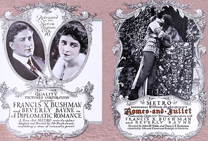 francis x bushman, american actor, beverly bayne, actress, film stars, metro, quality pictures corporation, 1916, silent movies, romeo and juliet, vintage film ads, posters