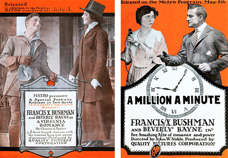 francis x bushman, american actor, robert cummings, william bailey, lester cuneo, beverly bayne, actress, helen dunbar, film stars, silent movies, 1916, metro pictures, a virginia romance, a million a minute, quality pictures corporation,