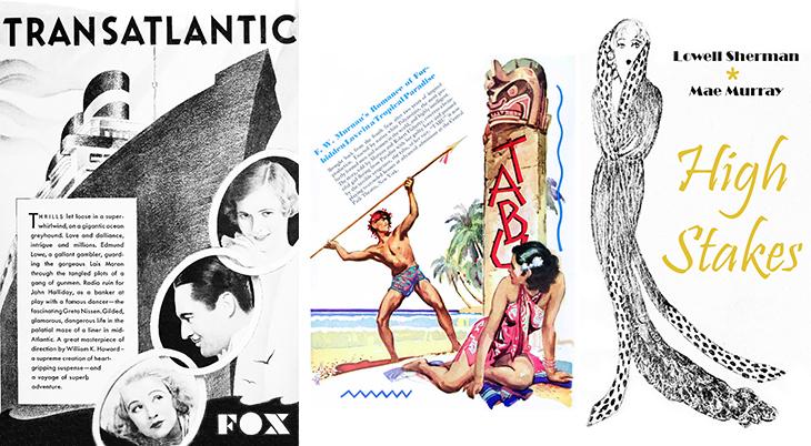 1931 movies, transatlantic, high stakes, tabu, a story of the south seas, actors, film stars, lois moran, greta nissen, john halliday, lowell sherman, mae murray, director, f w murnau,