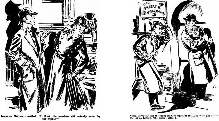 the murder at hazelmoor, 1931 book, mystery, novel, author, writer, agatha christie, the sittaford mystery, serialized, w smithson broadhead, illustrator, illustrations, inspector narracott, murder, major burnaby,