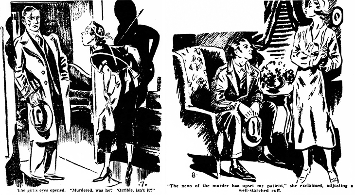 the murder at hazelmoor, 1931 book, mystery, novel, author, writer, agatha christie, the sittaford mystery, serialized, w smithson broadhead, illustrator, illustrations, seance, murder, captain trevelyan