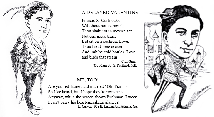 francis x bushman, american actor, film stars, silent movies, 1917, films, romeo and juliet, caricatures, limericks, me too, a delayed valentine, poems