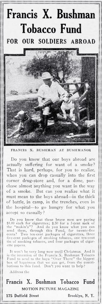 francis x bushman, american actor, film star, silent movies, 1917, world war i, tobacco fund, fund raising, cigarettes, tobacco, vintage,dogs, great danes, dog breeder