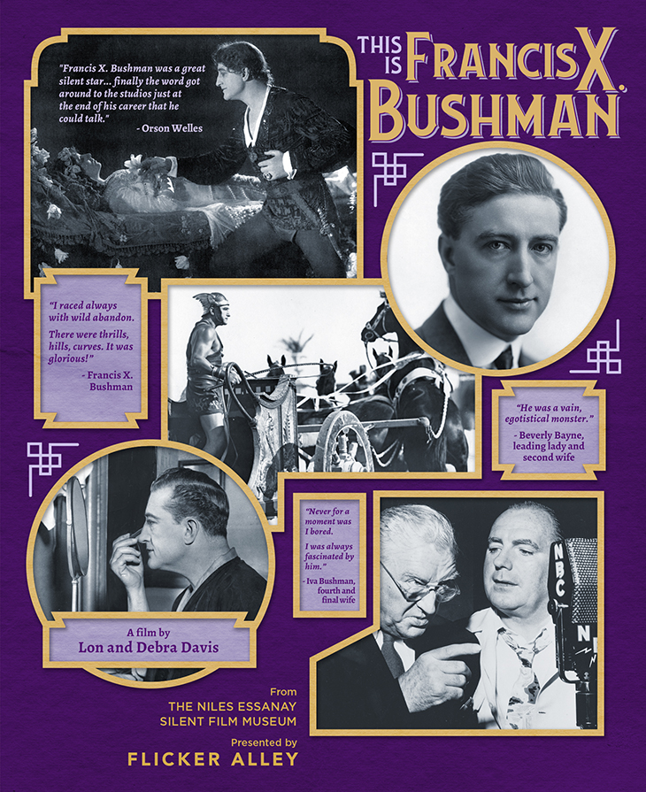 this is francis x bushman, poster, documentary, 2021, american actor, film star, silent movies, king of the movies