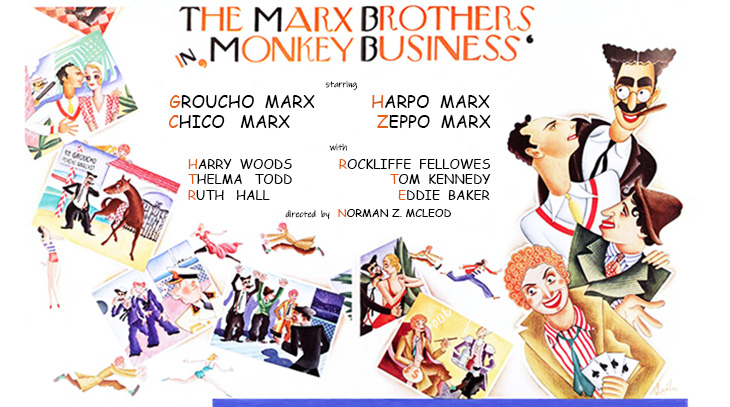 1931, comedy, movies, monkey business, the marx brothers, actors, zeppo marx, harpo marx, chico marx, groucho marx, thelma todd, rockliffe fellowes, director, norman z mcleod