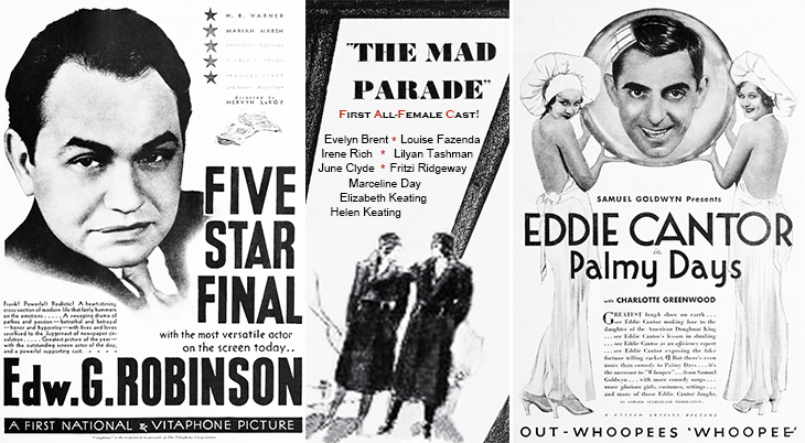 1931, movies, classic films, five star final, the mad parade, palmy days, actors, movie stars, edward g robinson, eddie cantor, vintage ads
