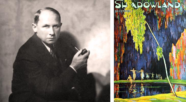 shadowland, magazine cover, art deco, paintings, watercolor, december 1919, brewster publications, artist, a m hopfmuller, adolph m hopfmuller, 1920, portrait, hal phyfe