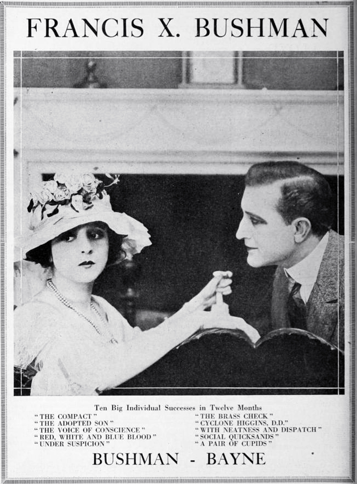 francis x bushman, american actor, beverly bayne, actress, film stars, metro, quality pictures corporation, 1918, silent movies, under suspicion, a pair of cupids, the poor rich man, the brass check, with neatness and dispatch, vintage film ads,