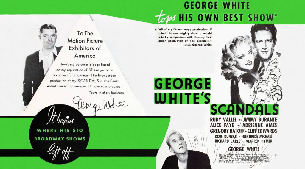 george whites scandals, broadway plays, musicals, movies, 1934, actors, producer, choreographer, dancer, george white, singer, rudy vallee, actress, alice faye, comedian, jimmy durante,