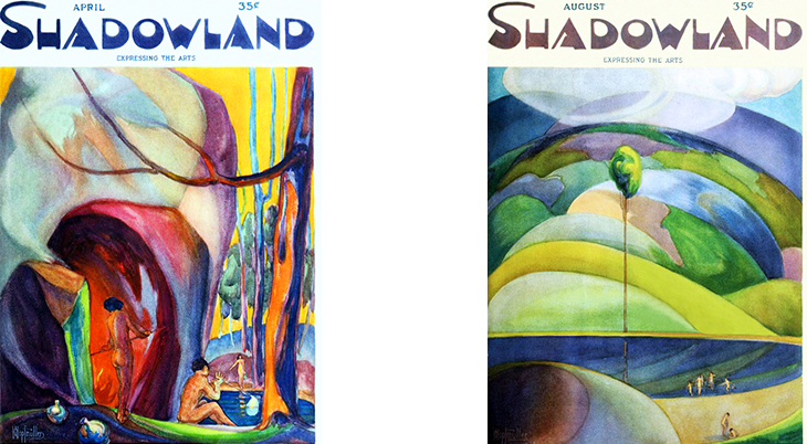shadowland, magazine cover, art deco, paintings, watercolor, german american artist, a m hopfmuller, adolph m hopfmuller, brewster publications, 1923, april, glass blowing, august, the lake