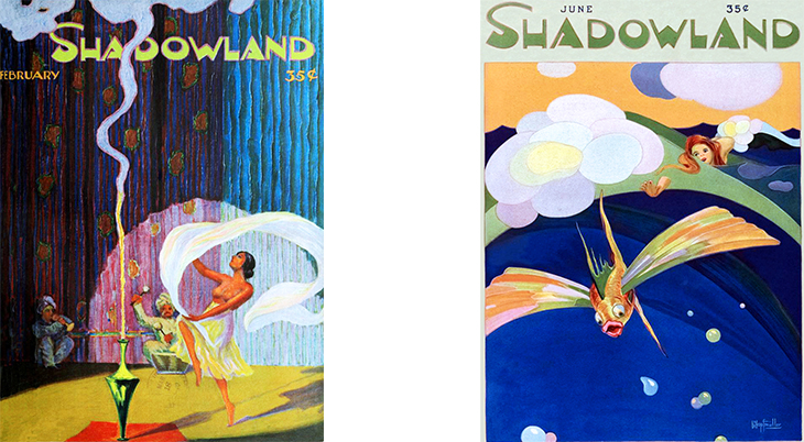 shadowland, magazine cover, art deco, paintings, watercolor, german american artist, a m hopfmuller, adolph m hopfmuller, signature, unsigned, 1920 february, 1921 june
