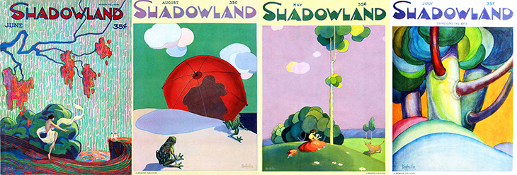 shadowland, magazine cover, art deco, paintings, watercolor, german american artist, a m hopfmuller, adolph m hopfmuller, signature, unsigned, june 1920, august 1921, may 1922, july 1923, trees, bull, frogs, umbrella, dancer