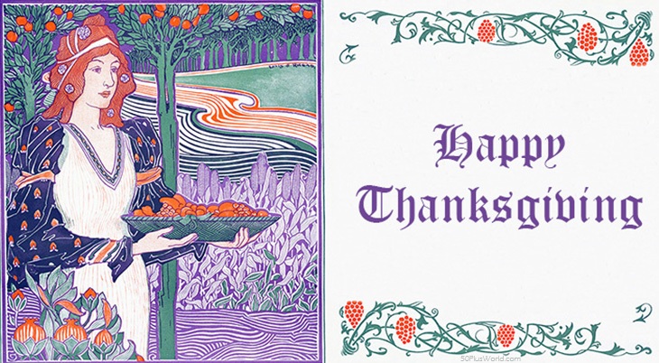 thanksgiving day wishes, happy thanksgiving, greeting card, vintage, dinner, feast, 1894, louis rhead, illustration, fantasy, fairy tale, middle ages, purple, green, orange