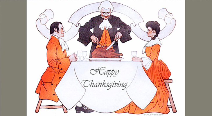 thanksgiving day wishes, happy thanksgiving, greeting card, vintage, dinner, feast, 1903, guernsey moore, illustration, painting, turkey, georgian, green, orange