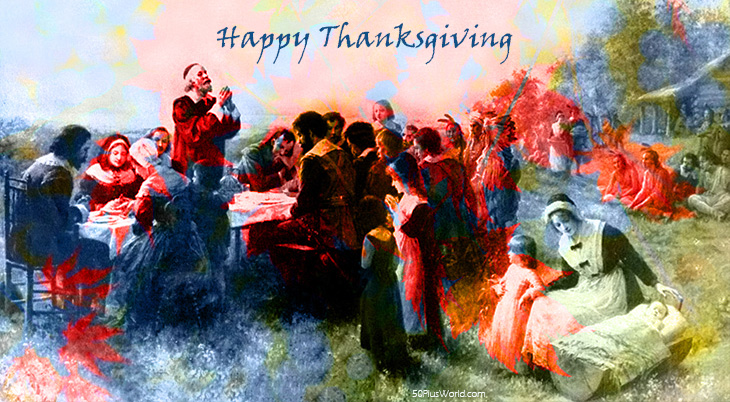 thanksgiving day wishes, happy thanksgiving, greeting card, pilgrims, turkey, vintage, red leaves, autumn leaves, native canadians, native americans