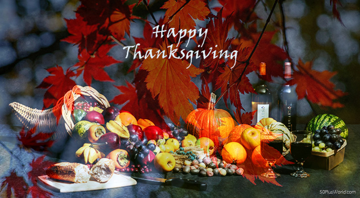 thanksgiving day wishes, happy thanksgiving, greeting card, vintage, dinner, feast, horn of plenty, fruits, vegetables, gourds, autumn leaves, red,