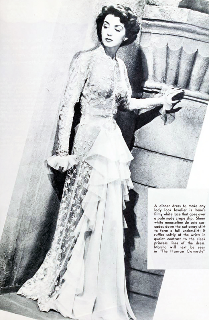 marsha hunt, 1943, movies, american actress, model, film star, movies, the human comedy, designer irene, fashion, lace dress, evening gown, fashion, glamorous