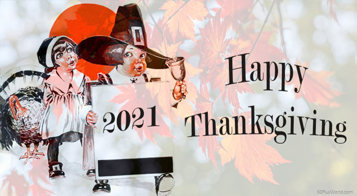 thanksgiving day wishes, 2021, happy thanksgiving, greeting card, pilgrims, turkey, vintage, red leaves, autumn leaves
