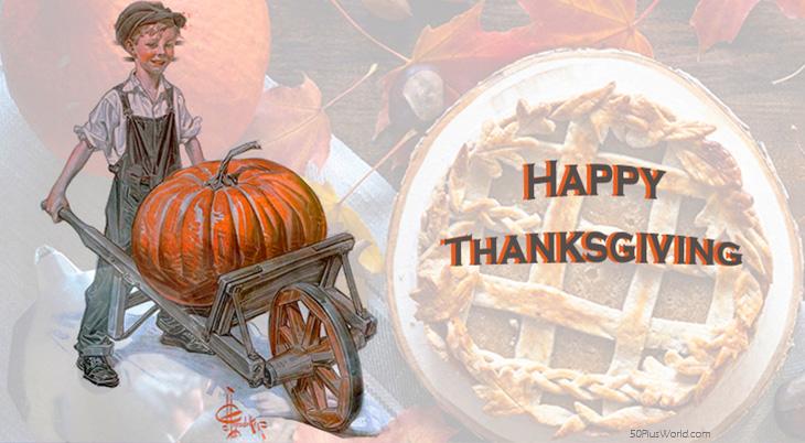thanksgiving day wishes, happy thanksgiving, greeting card, vintage, autumn leaves, 1913, j c leyendecker, illustration, pumpkin, cart, boy, orange, pumpkin pie