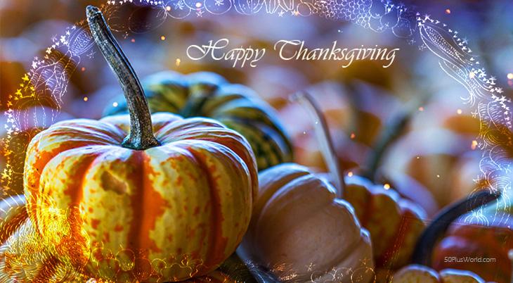 thanksgiving day wishes, happy thanksgiving, greeting card, pumpkins, gourds, orange, lights, border, vintage, illustration