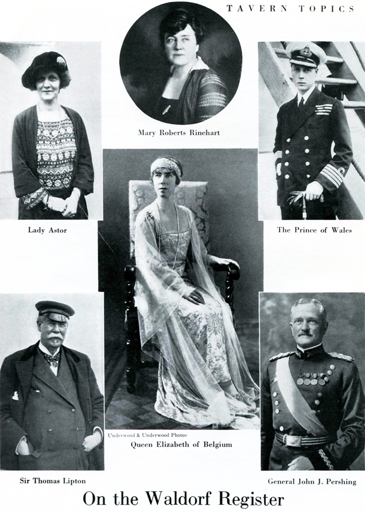 waldorf astoria, hotel guest, celebrities, 1920s, 1922, tavern topics, new york city, lady nancy astor, sir thomas lipton, general john pershin, mary roberts rinehart, queen elizabeth of belgium, edward prince of wales,