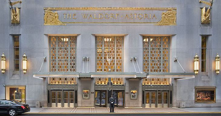 waldorf astoria hotel entrance, park avenue, new york city, 2013